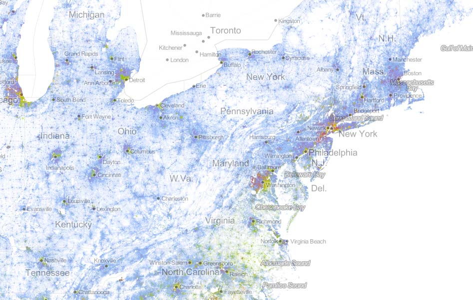 The dot demographic map of America