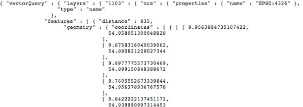Koordinates API call result