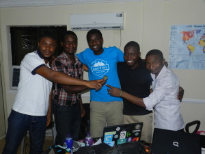 (The winning team of the Hack4Good Nigeria) From Left -Ben; Manga; SchoolofData Fellow -Oludotun Babayemi; Habib; Chief Executive, CODE - Hamzat