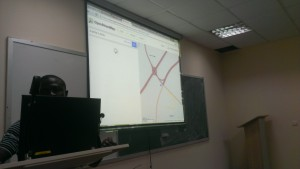 Sidney Bamidele of eHealth Africa training participants on using Open Street Maps