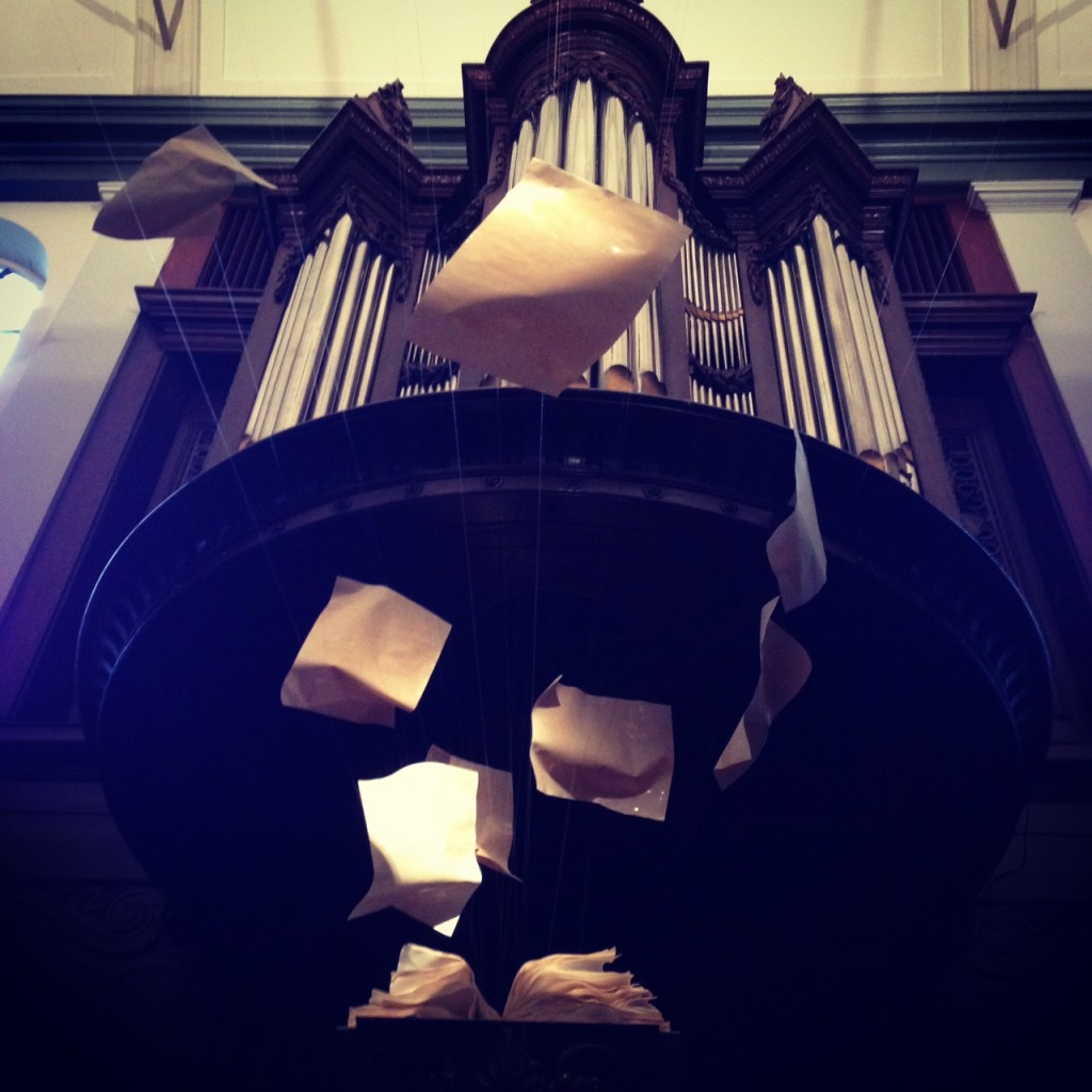 Exploding book in the pulpit of the De Krijtberg Church in Spui, Amsterdam where some of the sprint took place