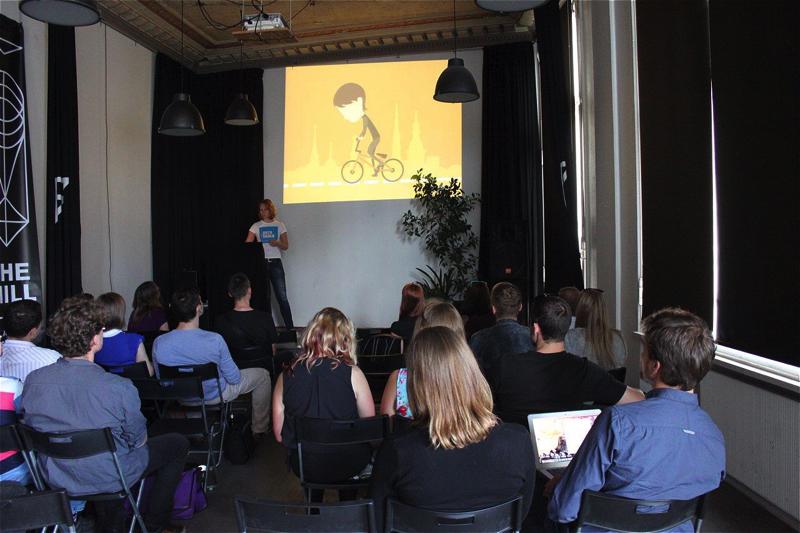 Nika Aleksejeva presenting the project